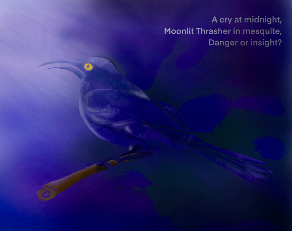 Digital drawing of a thrasher in the moonlight with haiku