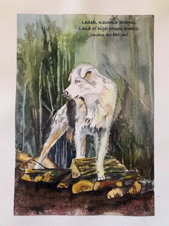 "Watercolor, sheepdog on logs with haiku, 7"" x 10"""