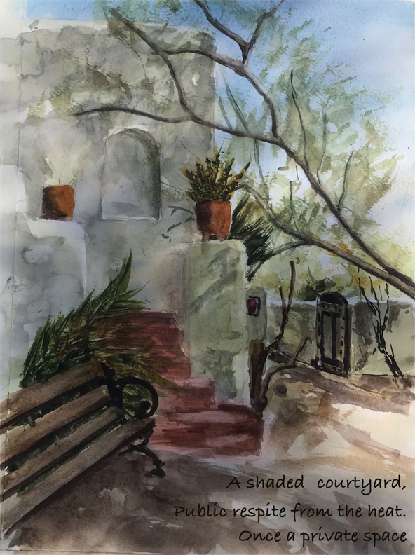 watercolor image of a shady garden courtyard with the corner of a white adobe building on the left. Red stairs lead up to a hidden entrance to the building. An open gate on the right invites exploration