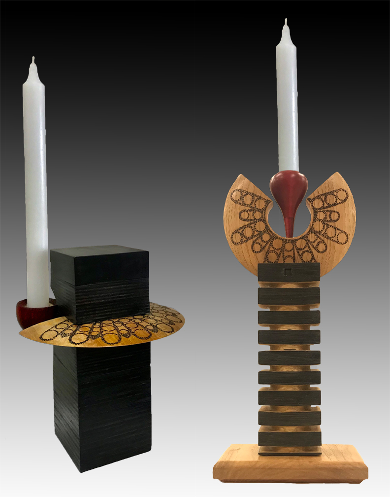"""two sculptures as tributes to Ruth Bader Ginsberg. They include a representation of her """"I disent"""" collar, the supreme court and a flame holder"""